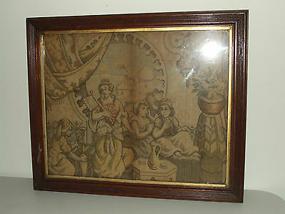 Antique Framed 19th C. Embroidery Tapestry Sampler in Victorian Walnut Frame