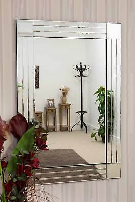 Large Wall Mirror Stylish Triple Edged Bevelled Silver Venetian 3Ft11 X 2Ft8