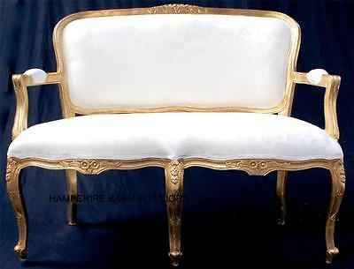 ORNATE Double Ended Sofa Gold Cream French Louis Small Chaise sofa wedding home