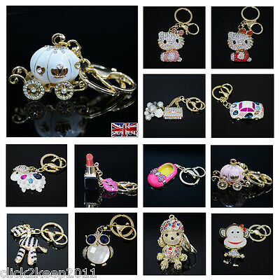 Bling Crystal Diamante Key Chain Keyrings Purse Bag Key Ring Chain Keychain Gift