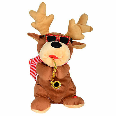 Animated Musical Dancing Plush Reindeer With Saxophone Christmas Decoration Xmas