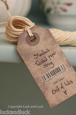 East of India Twisted Cream Paper String for Vintage Style Labels & Wrapping 30m