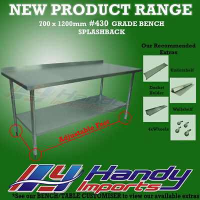 1200x700mm STAINLESS STEEL #430 COMMERCIAL FOOD PREP WORK BENCH W/SPLASH BACK