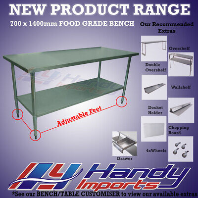 1400 x 700mm STAINLESS STEEL #304 COMMERCIAL FOOD PREP WORK BENCH