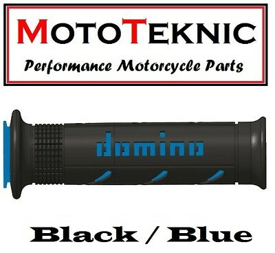 Pair Of Domino XM2 Black And Blue 22mm Motorcycle Grips **Brand New**