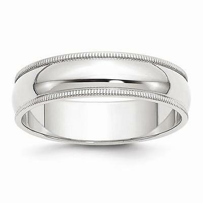 New Solid 14K White Gold Polished Ring Mens 6Mm Milgrain Wedding Band Size 9