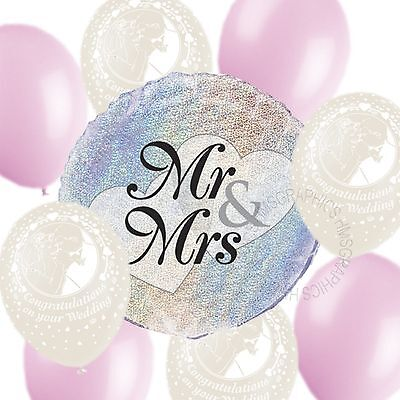 Wedding Helium Balloons Venue Table Decorations Printed White Pink Party Pack