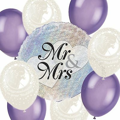 Wedding Helium Balloons Venue Table Decorations Printed White Purple Party Pack