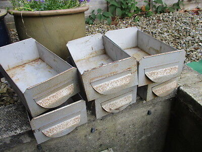 Vintage - Retro Iron Drawer Rack Display Pot Salvaged Industrial Old  £10each