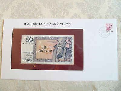 Banknotes of all Nations Iceland 1981 10 Kronur UNC P48a.3 sign 42 Prefix A