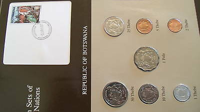 Coin Sets of All Nations Botswana w/card UNC 1981 & 1984 cow 1 Thebe 1 Pula 1981