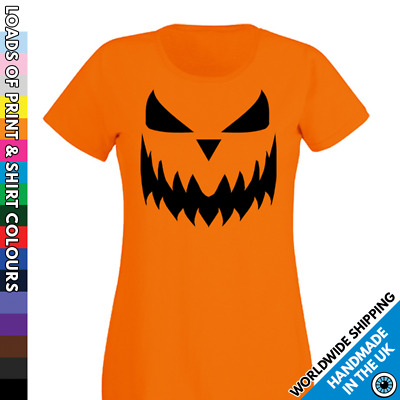 Ladies Halloween Ghost Pumpkin Face Tshirt Scary Trick Treat Party Costume Shirt