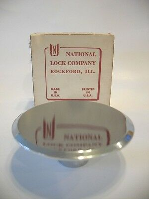 "Vintage NOS 2-1/2"" CHROME DRAWER KNOBS Cabinet Door Pulls Concave National Lock"
