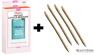 SALLY HANSEN INSTANT CUTICLE REMOVER MAXIMUM STRENGTH PLUS 4x ORANGE WOOD STICKS