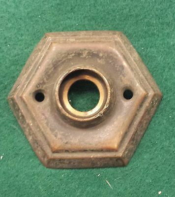 Brass Door knob Escutcheon  Rare hexagon shape  original finish