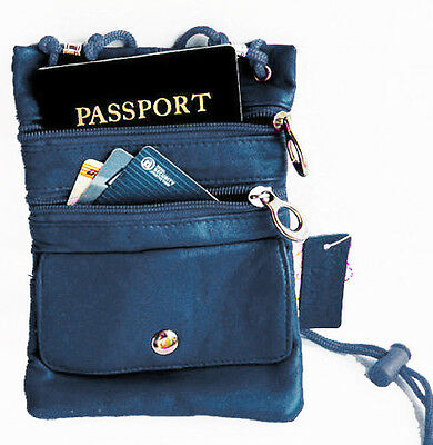 Blue Soft Leather Passport ID Holder Neck Pouch Travel Cross Body Strap Bag
