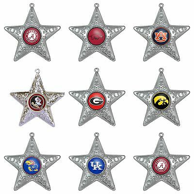 NCAA Teams Silver Star Christmas Ornament - Pick Your Team