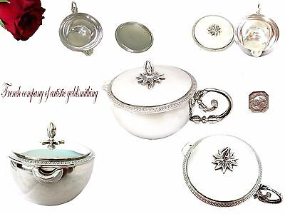 Antique French Creamer solid sterling silver or sauce boat with lid