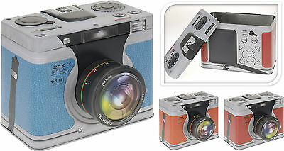 "Metal Camera Shaped Photo Storage Box Embossed Storage Tin 6x4"" & 7x5"" Photo Box"