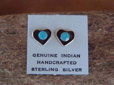 Navajo Indian Jewelry Sterling Silver Turquoise Heart Post Earrings!