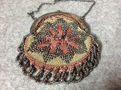 Antique Cut Steel Beadwork Ladies Purse Victorian stitched thread Evening Bag
