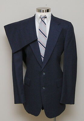 Vintage Mens 40L Chaps Ralph Lauren 2 Piece Blue Flannel Wool Suit