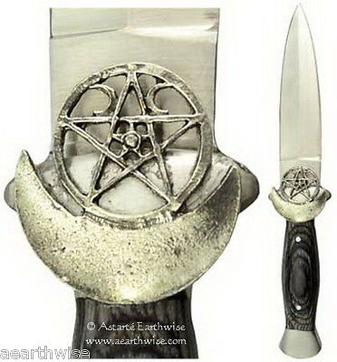 ATHAME - HECATE'S WINGED BLACK HANDLED  Wicca Pagan Witch Goth  Ritual Spell