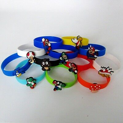 18cm Silicone Wristbands Bracelets one hole + Super Mario PVC Shoe Charms Gifts