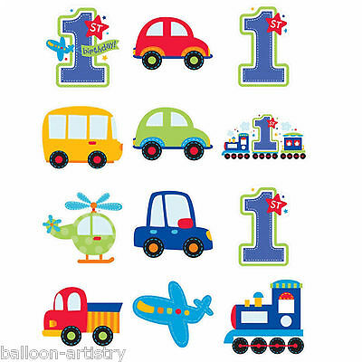 12 Assorted All Aboard Blue Boy's 1st Birthday Party Cutout Decorations