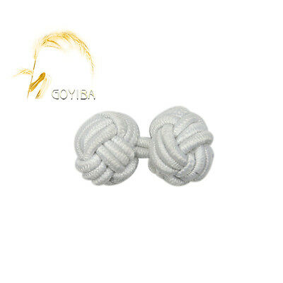 5 Pair Handmade White Chinese Crochet Ball Frogs Closures Knot Buttons Fasteners