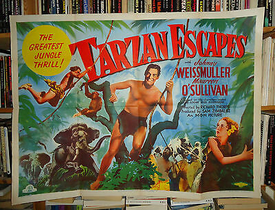 JOHNNY WEISSMULLER/TARZAN ESCAPES// british quad poster