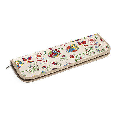 HobbyGift MR4700F/29 Owl Print/Natural Zip Rigid Knitting Needle Case 13x40x4cm