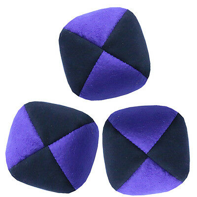Purple/ Black Set of 3 Moleskin Juggling Balls - Faux Suede Quality Pro Thuds