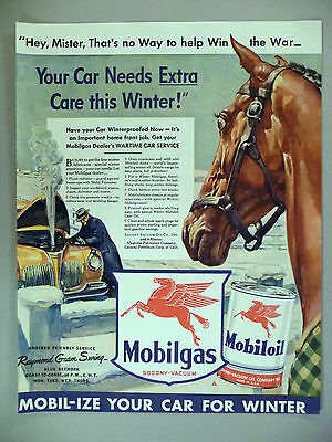 Original 1942 Print Ad Mobilgas Mobiloil Red Horse Wartime Car Service Pays Wide Selection; Merchandise & Memorabilia