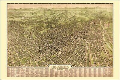 AERIAL VIEW los angeles 1909 CITY MAP poster RARE HOT NEW collectors 24X36