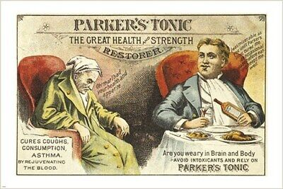 PARKER'S TONIC the great health & strength restorer VINTAGE AD POSTER 24X36