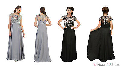 Mother of the Bride Groom Cap Sleeve Chiffon Plus Size Formal Long Vintage Gown