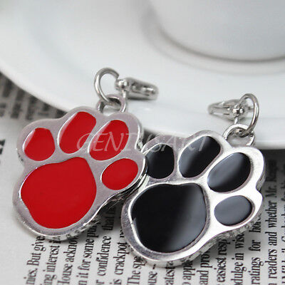 2Pcs Stainless Steel Pet Tags Dog Cat Puppy Paw Foot Print Charm Pendant