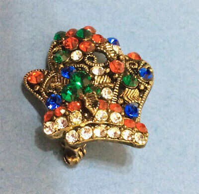 Holiday Winter Mittens With Color Crystals Brooch Pin
