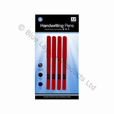 Pack of 4 Handwriting Pens School Home Office Stationery Blue & Black Writing