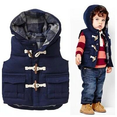 New Children Winter Outwear Cotton Boys Vest Coats Casual clothes 2-6yrs