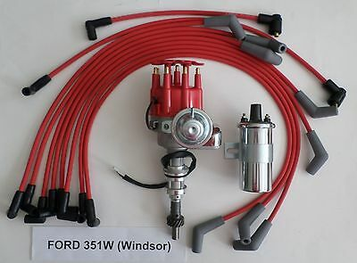 FORD 351W Windsor Small Cap HEI Distributor 60K Coil Plug Wires SBF 351W