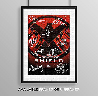 Agents Of Shield Cast Signed Autograph Print Poster Photo Tv Show Series Season