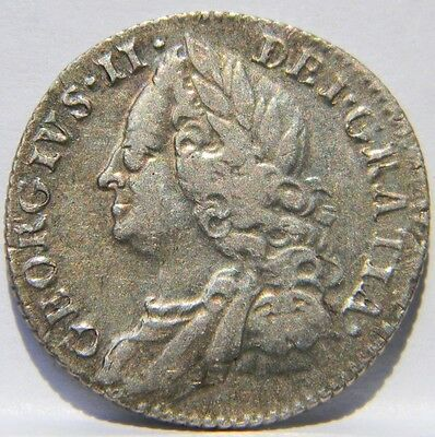 GB, George II: scarce 1757 silver Six 6 Pence, 2nd year of issue; toned XF