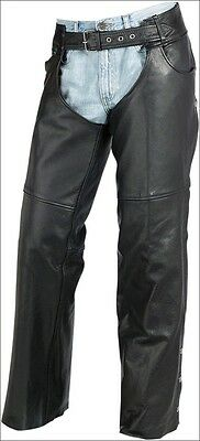 Z1R Premium Leather Mens Carbine Motorcycle Riding Chaps - LG