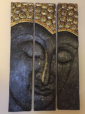 Buddha Face Black Gold Solid Wood Carving 3 Panels Large Thailand Hand Carved