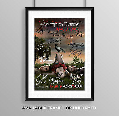 Vampire Diaries Cast Signed Autograph Print Poster Photo Tv Show Series Season