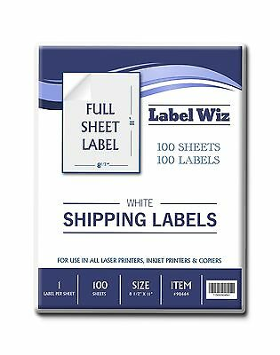 "100 Full Sheet shipping Label - 8.5"" x 11"" (Same Size as Avery 5165) Label Wiz"