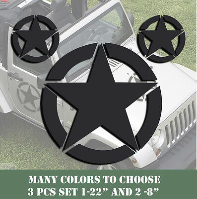 Army Star Vinyl Decal Made in USA Military Jeep Wrangler Willys CJ Hood 3 pcs