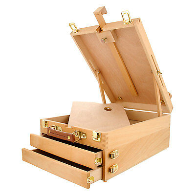 US Art Supply Artist Wood Tabletop Desk Sketchbox Easel Painting with Drawers